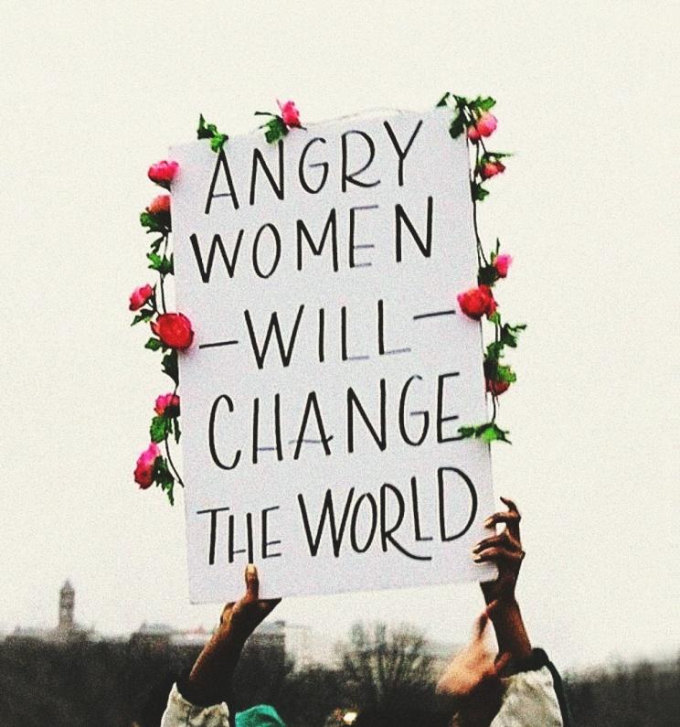 angrywomenflowerpowersign